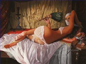 4 hookah pipe arabian nights veil peacock feather Fantasy oil paintings