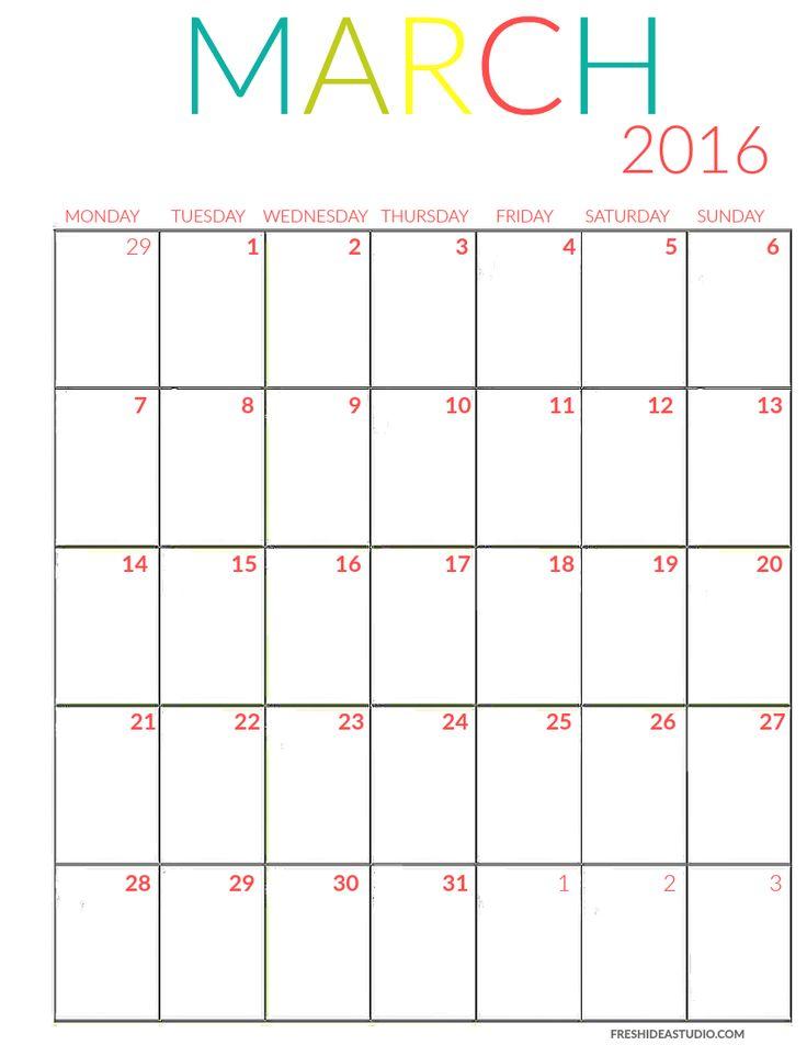 March Calendar color Printable
