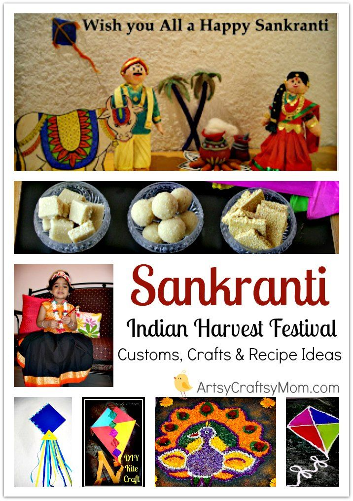 Celebrate Makar Sankranti - India's Harvest Festival - Significance , Customs, Crafts & Recipe Ideas - Lots of Kite Crafts for kids to make , Rangoli Ideas, Sankranti recipes, jaggery, Til sweets (sesame seeds)