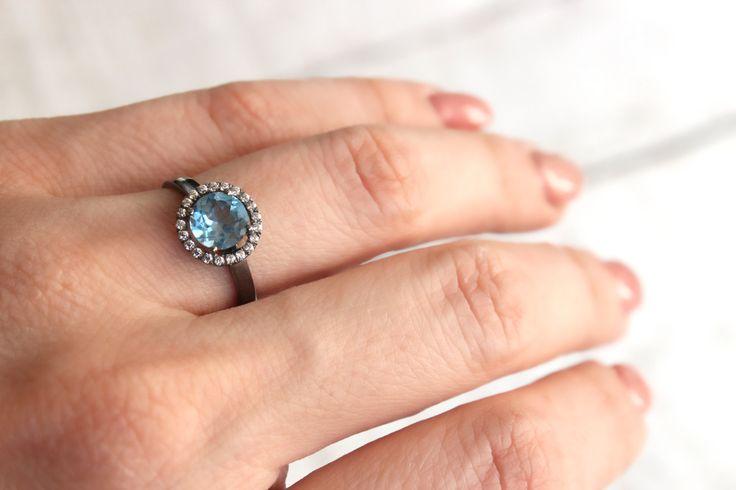 Aqua Blue Halo ring. Elegant 14k gold plated ring. Sterling
