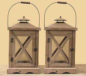 Lot 2 lanterne vieux bois style ancien charme d co lampe for Lanterne terrasse exterieure