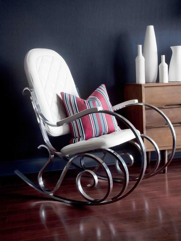 Flea market find upcycled into a modern rocking chair.  http://www.hgtv.com/designers-portfolio/room/romantic/bedrooms/7753/index.html#/id-6319/room-bedrooms?soc=pinterest