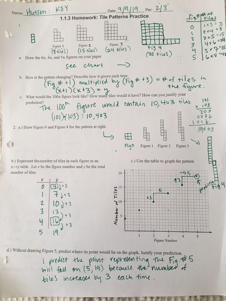 1.1.3 Hw KEY pg. 1 Tile patterns, Math, Bullet journal