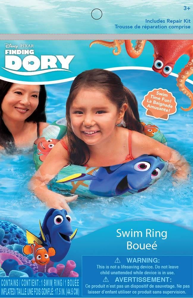 FINDING DORY INFLATABLE SWIM RING (Item # 12010409)   Make a splash this summer with this Finding Dory inflatable swim ring. It features bright colors and friendly characters from the family fun film Finding Dory from Disney Pixar. Ages 3 and up.    worthajoygifts.com