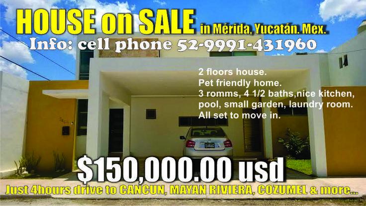 Nice HOUUSE FOR SALE in Merida, YUCATAN, MEXICO. 4Hrs drive to CANCUN and caribean ....MAYAN RIVIERA, HOLBOX, COZUMEL &more. Facebook: Casa en venta  San Pedro Cholul.