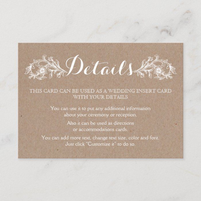 White Ink On Kraft Cardboard Floral Wedding Enclosure Card Zazzle Com Wedding Enclosure Cards Floral Wedding Wedding Details Card