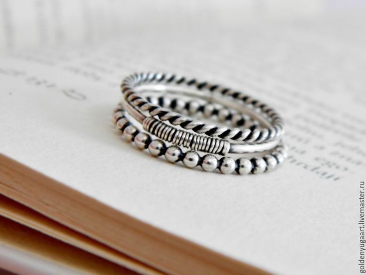 Купить Набор из трех колец, серебро 925 пробы - серебряный, кольцо из серебра, кольцо серебряное