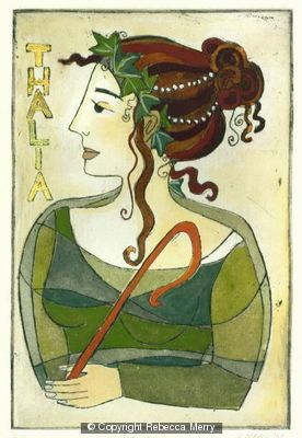 Rebecca Merry, hand coloured etching, Thalia one of the three Graces