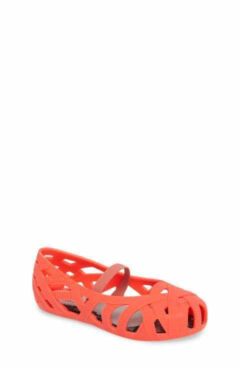 "Mini Melissa ""Mini Jean+Jason Wu"" New Neon Orange Ballet Flats Shoes Size 8 $65. #MiniMelissaJasonWU #Flats"