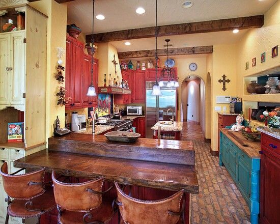 southwest kitchen love the color and the cross - Southwestern Design Ideas