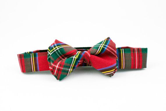 Red and Green Tartan Boys Bow Tie Adjustable by littlejohnneckwear