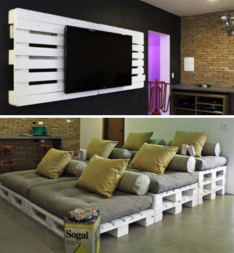 Love this upcycled pallet home ultra-comfy cinema.