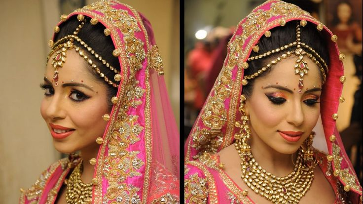 Traditional Bridal Makeup With Peach and Pink