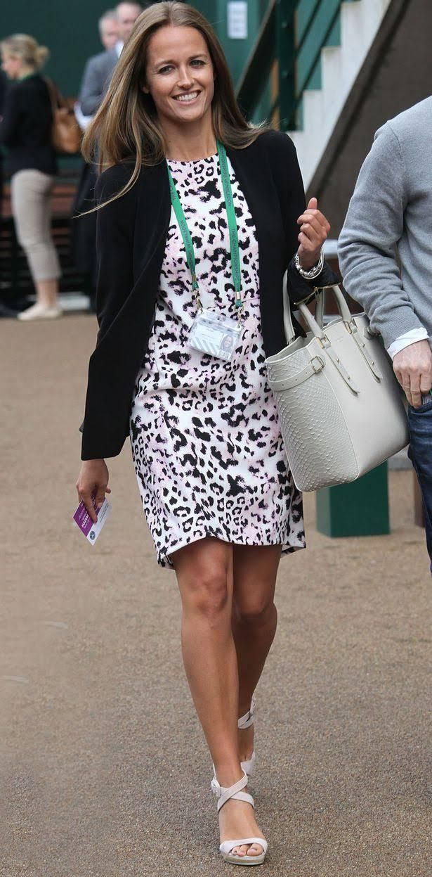30 June 2014: At Wimbledon in a Zara blazer, Whistles dress, and Aspinal tote.