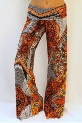 Casual Ethnic Print Wide-Leg Straight Pants For Women