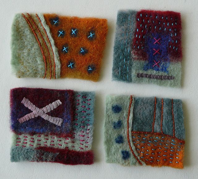 Playing with stitches. | Flickr - Photo Sharing! Pieced on the embellisher and hand stitched