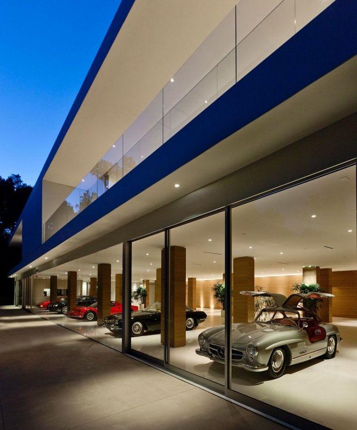 Minimalist facade at night