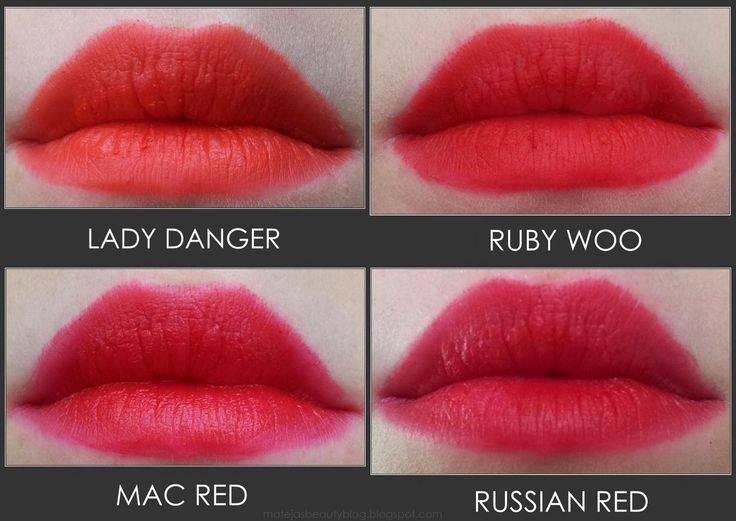 MAC Lipsticks Lady Danger, Ruby Woo, Mac Red, Russian Red // Mateja's Beauty Blog