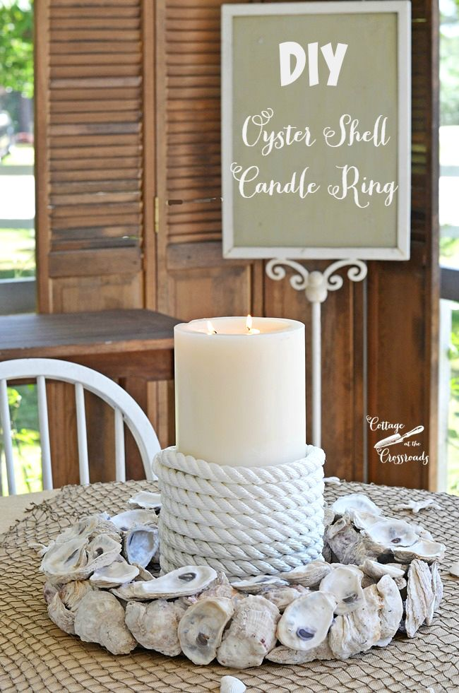 Got oyster shells? Make this easy and beautiful candle ring with them! Time to get your summer on!