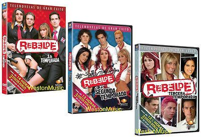 REBELDE Novela Season 1+2+3 Telenovela* 3 DVD Box Sets *USED VERY GOOD CONDITION