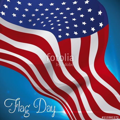 Flying U.S.A. Flag to Commemorate Design for Flag Day