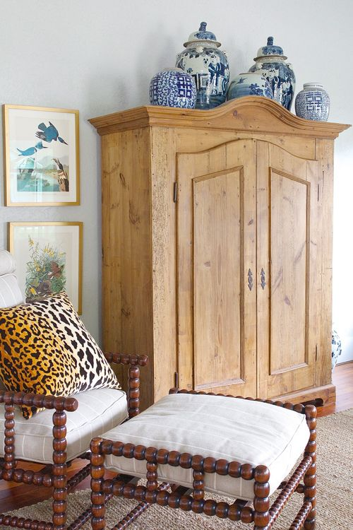 Becki Griffin_Holly Mathis Interiors-21.jpg Chinoiserie porcelains look great over this pine armoire. Lovely vignette