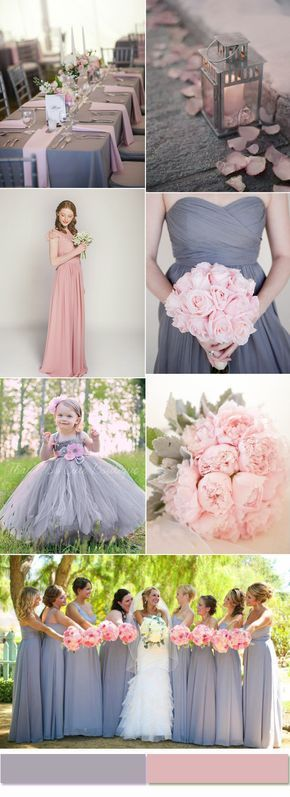 2017 weddings colors! Grey and dusty pink are a beautiful color combo.