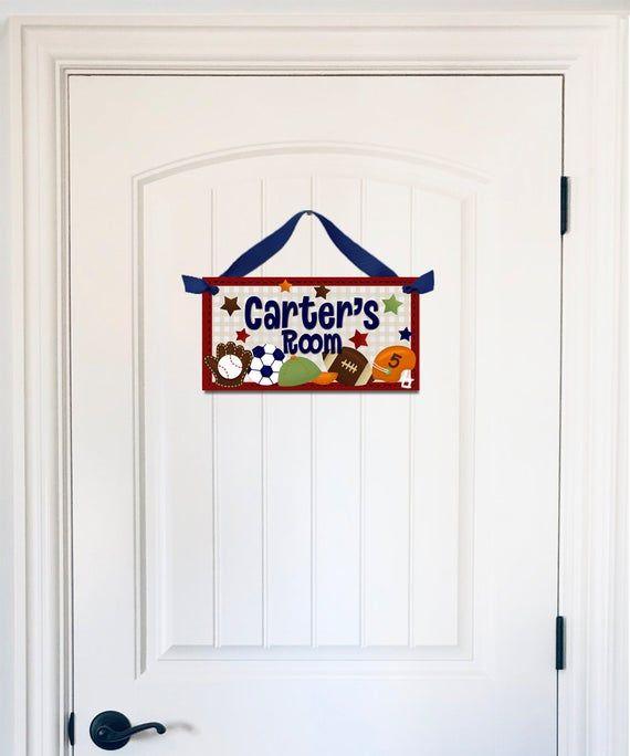 Kids Door Sign Bedroom Door  Sign Football Design Door Sign