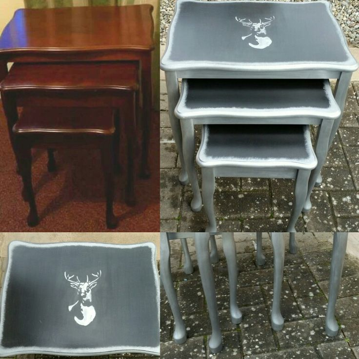 Dated nest of tables.upcyced with black paint and gilded in silver leaf for some detailing