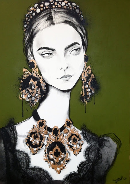 'A is for Arizona' fashion illustrations by Pippa McManus, done in a mix of acrylic, charcoal, paint-pens & spray-paint on canvas