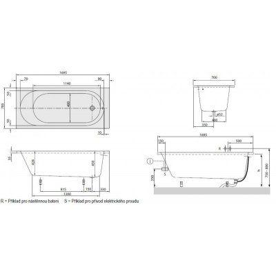Wanna prostokątna 170 x 70 cm Villeroy & Boch O.novo Solo UBA 177 CAS 2V-01…