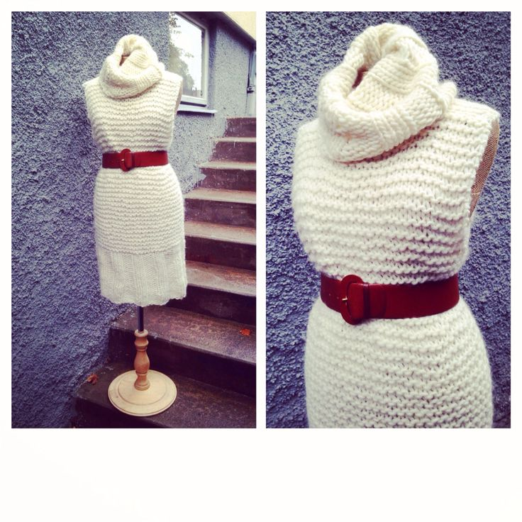 Knitted dress with leather belt
