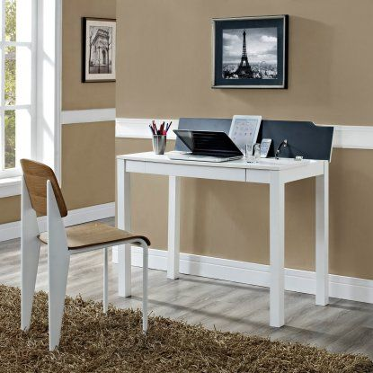 Altra Parsons Style Flip-Up Desk - White $89 Hayneedle Dimensions: 38.98W x 20D x 29H in. Engineered wood with white veneered finish Flip-up panel for tabletop organization Room for chargers, cords, and accessories