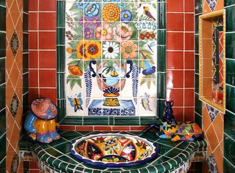 Captivating Talavera Tile Covered Bathroom Built Into A Niche.