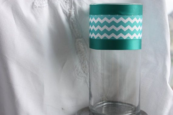 A Set of 5 Turquoise  Chevron centerpieces by Juliescottagecrafts, $45.00