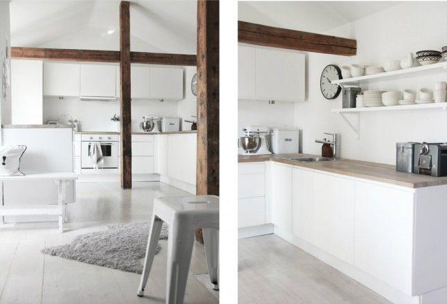 drewniane belki w bialej kuchni,nowoczesna biała kuchnia z   -> Kuchnia Z Frontami Drewnianymi
