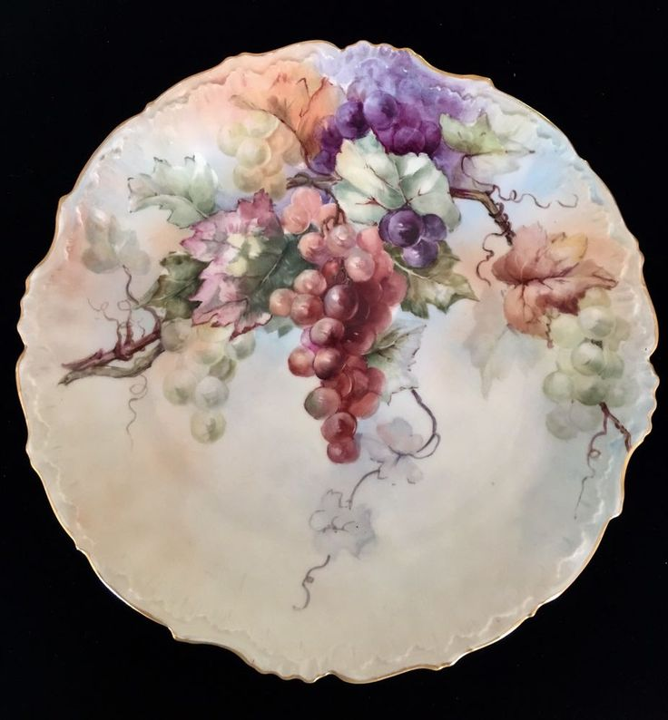 """LIMOGES ELITE RARE HANDPAINTED PAINTED 12"""" GRAPES CHARGER C. 1920"""