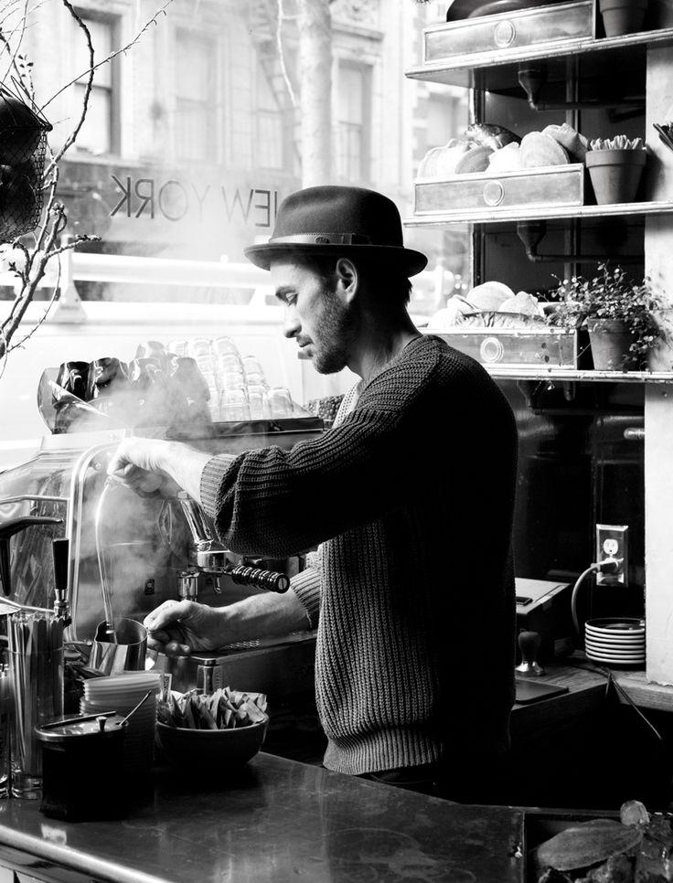 Pretty boys making coffee (Navy New York | Nicole Franzen)
