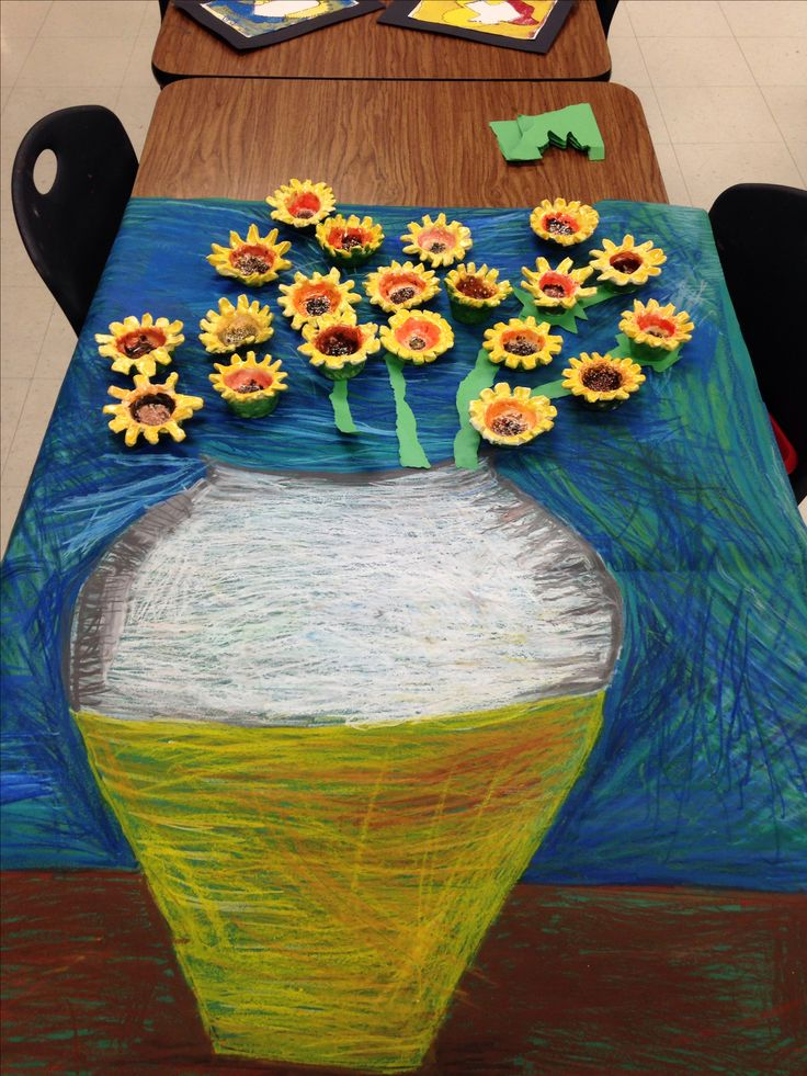 Sunflower pinch pots by 1st grade Art exhibit idea