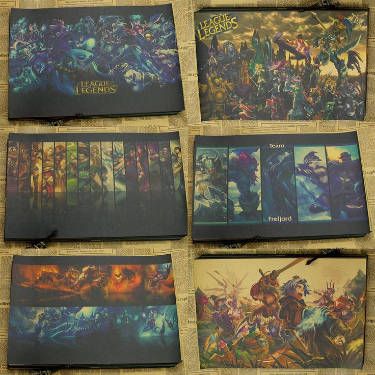 League of Legends D gather Internet cafes posters Home Furnishing decoration Kraft Game Poster Drawing core Wall stickers