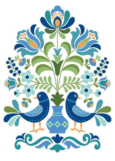 Hungarian Folk Art Print Blue Birds – Gigglepots Emporium