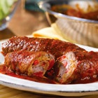 Beef Braciole Recipe - you cook it on the stovetop, uses 8 thin slices top round beef for braciole (about 2 oz each)