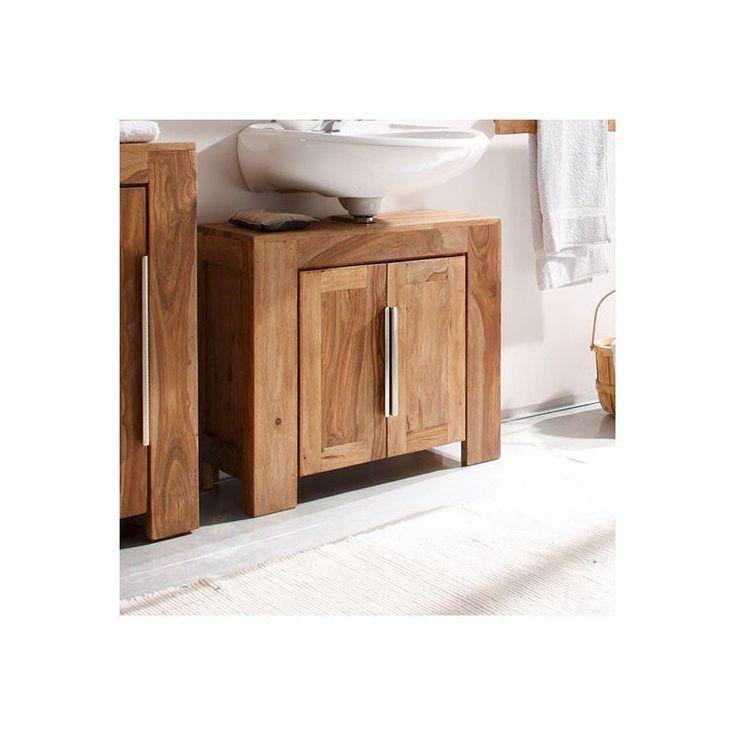 Wooden Under Sink Cabinet Brown Free Standing Doors Storage Bathroom Furniture