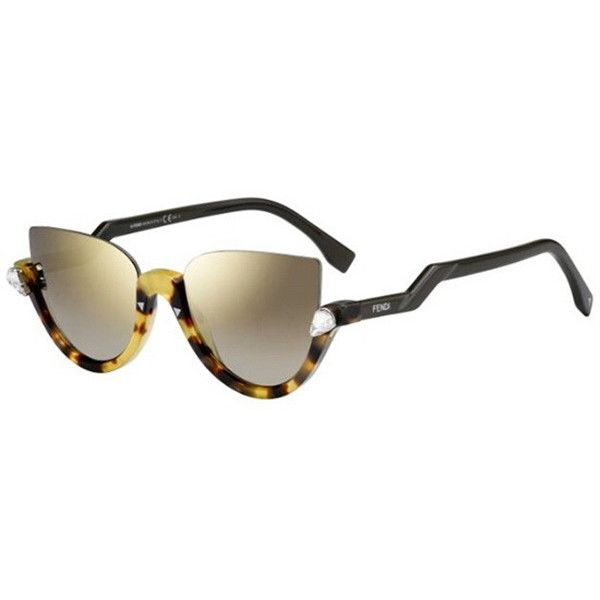 Fendi FF 0138/S BLINK N75/VD Sunglasses (£250) ❤ liked on Polyvore featuring accessories, eyewear, sunglasses, crystal havana, fendi eyewear, fendi, fendi glasses, lens glasses and fendi sunglasses