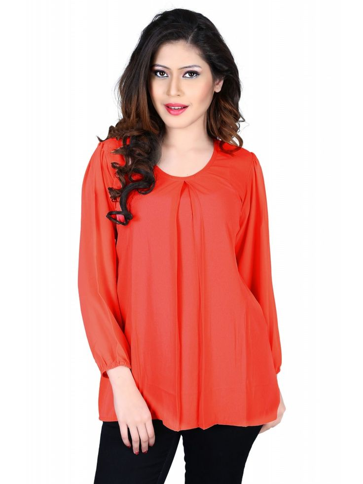Red Casual Georgette Solid Sleeveless Top