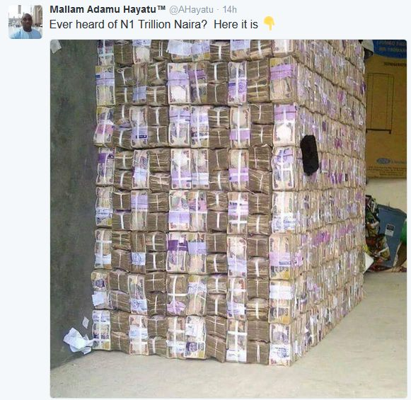 A Twitter User Claims This Is What One Trillion Naira Looks Like