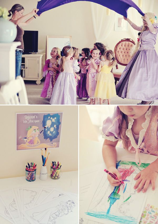 kids parties, tangled-rapunzel-party-coloring-games