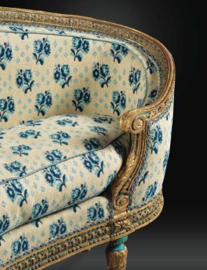 Veilleuse à la turque en hêtre sculpté laqué bleu rechampi or d'époque Louis XVI, vers 1777-1779, estampillée G.JACOB