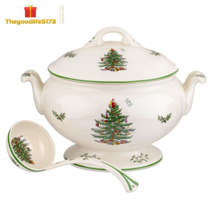 Spode Christmas Tree 75th Anniversary Footed Tureen and Ladle,New, Free Shipping…