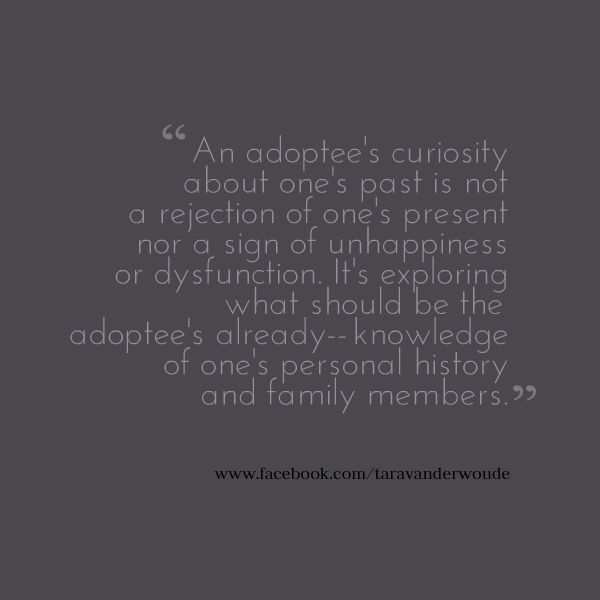 "Adoptees and curiosity/search.  Find and ""like"" my page at www.facebook.com/taravanderwoude  Social Worker. Advocate. Educator.  Adoption-Competent Consultant.  Speaker. Writer. Korean-born adopted person."